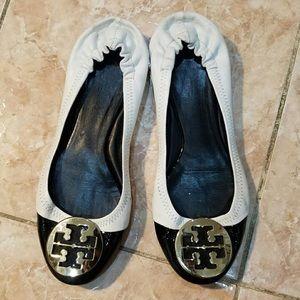 Tory Burch Black & White Leather Reva Ballet Flats